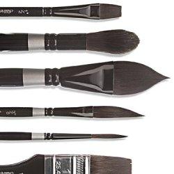 Silver Brush 3012S-014 Black Velvet Short Handle Blend Squirrel And Risslon Brush, Dagger Striper, 1/4-Inch