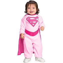 Superman Romper With Removable Cape Pink Supergirl, Pink Print, 6-12 Months