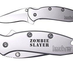 Zombie Slayer Text 2L Engraved Kershaw Chive 1600 Folding Speedsafe Pocket Knife By Ndz Performance