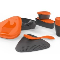 Light My Fire 8-Piece Bpa-Free Meal Kit 2.0 With Plate, Bowl, Cup, Cutting Board, Spork And More (Orange)