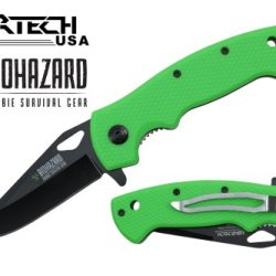 "Wartech 8"" Assisted Open Folding Tactical Survival Zombie Pocket Knife Black Blade Neon Green Plastic Handle"