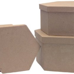 Paper Mache Heart Box Set - 8.5'', 7.5'' And 6.75