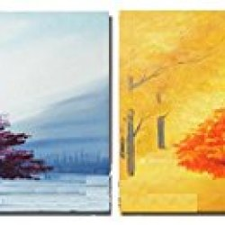 Sangu 100% Hand Painted Wood Framed 4-Piece Hot Sale Modern Colors Trees For Abstract Oil Painting Gift Canvas Wall Art For Home Decoration