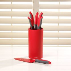 Procook Spectrum Red Knife Set 6 Piece With Red Bristle Block