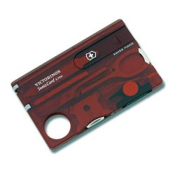 Victorinox Swiss Army Swisscard Lite Red Pocket Tool, Translucent Ruby