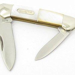 Buck 389 Yellow Pearl Nickel Silver Handle Canoe Duo 2 Blade Medium Knife Bu389Yp ~ New 2008