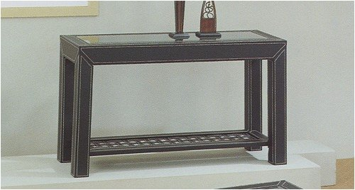 Image of Madison Metro Console Sofa End Table in Faux Leather Stitched Covering (VF_F6180)