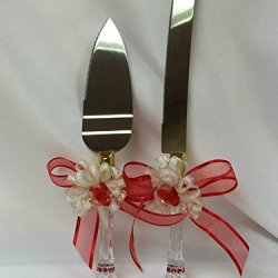Wedding Bridal Cake Knife And Server Set Red And Gold Design