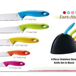 6 Piece Stainless Steel Color Knife Block Set