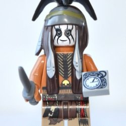 """Lego Lone Ranger Theme - Tonto Minifigure With Knife And """"Pocket Watch"""" Tile"""