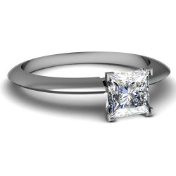 Fascinating Diamonds 0.70 Ct Princess Cut Diamond Knife Edge Solitaire Engagement Ring Si2-E 14K Gia