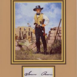 Jim Bowie 8 By 10 Vintage Photo Display, Autograph With The Bowie Knife