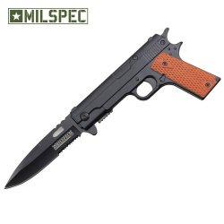 Spring Assisted Handgun Pocket Knife With Wooden Handle (Black) Yc-S-8354-Bk