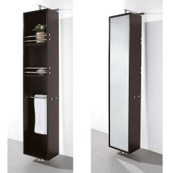 Claire Linen Tower & 360 Degree Rotating Floor Cabinet With Full-Length Mirror In Espresso