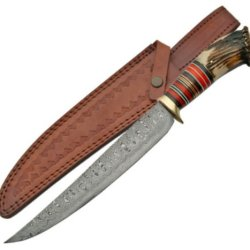 New Damascus 15-1/2 In Bowie Hunting Knife Dm1059
