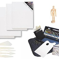 Royal & Langnickel Royal Gold Acrylic Painting Box Set, Plastic Palette Knife Set, 4 Canvases (11X14) And 5.5 Posable Manikin Art Gift Set (43 Pieces)