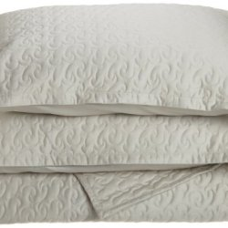 Tuscany Fine Italian Linens Egyptian Cotton Quilted Coverlet Set, King, Oyster