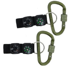 2Pk Vas #8 80Mm Aluminum Locking Snap Link Carabiner W Compass, Thermometer Black Key Ring Strap- Biner N Things Ships Outdoor Green