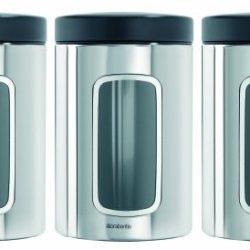 Brabantia Windowed 1.4 Litre Canister Set- Brilliant Steel