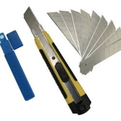 Sdi-5414 Snap-Off Utility Knife With 12 Set Of Sk2+Cr Blades, 9Mm Rubber Grip Cutter For Right Or Left Handed User