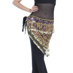 Elegant Look 150Tassels Gold Coins With Crocheted Sequins Beads & Waistband Belly Dance Scarf,V-Shape(S Size)