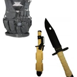Ultimate Arms Gear Stealth Black Lightweight Edition Tactical Scenario Military-Hunting Assault Vest W/ Right Handed Quick Draw Pistol Holster + Tan M9 M-9 Military Survival Stealth Black Blade Bayonet Knife With Tactical Sheath Scabbard