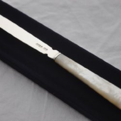 Perfect Mother Of Pearl & Sterling Silver Bladed Letter Opener Sheffield 1860