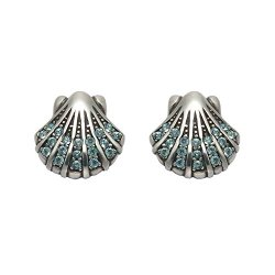 Sterling Silver Scallop Shell Stud Earrings With Aqua Crystal Stones