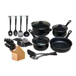 32 Piece Kitchen Chef Set Knife Knives Pots Pans Utensils Non Stick