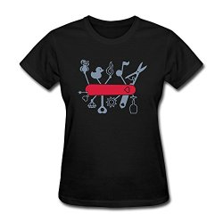 Nasy Women'S Swiss Army Knife Lovers Cotton Short Sleeve T Shirt Xl Black