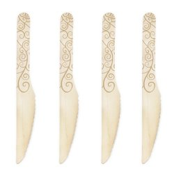 Dress My Cupcake 6.5-Inch Natural Wood Dessert Table Knives, Gold Filigree, 100-Pack
