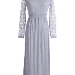 Anna-Kaci S/M Fit Smocked Waist Knife Pleat Floral Lace Sleeves Dress
