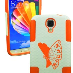 Plastic & Silicone Case For Galaxy S4 Butterfly Cover (Orange)- Lifetime Warranty