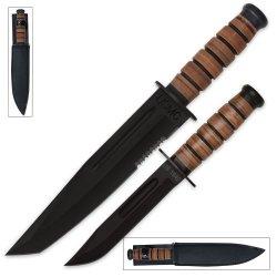 U.S. 1942 Marine Leather Handle Machete & Bowie Knife Set