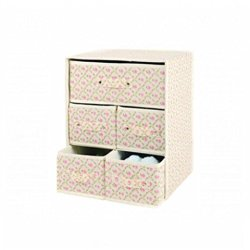 Household Essentials Storage Bin With Handles, Natural Canvas Nested Five Drawers