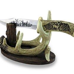 Carved Look Handle Decorative Deer Knife W/Antler Display Stand