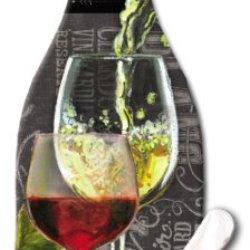 Counterart Wine Bottle Shaped 12-1/2-Inch Glass Cheese Board With Spreader Knife, Chalkboard
