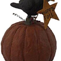 Craft Outlet Papier Mache Crow On Pumpkin Figurine, 8-Inch