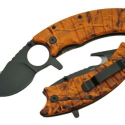 Szco Supplies 300263-Or Assisted Opening Gut Hook Folding Knife, Orange Camo