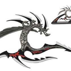 "11 3/4"" Blade. Fantasy Dragon With Wooden Stand"