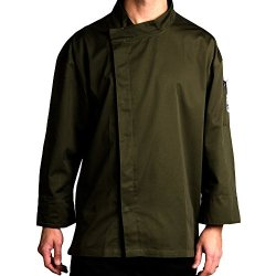 Chef Revival J113Og-Xl Poly-Cotton Knife And Steel 3/4 Sleeve Chef Jacket With Hidden Snaps, X-Large, Olive