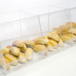 Bulk Bread Storage Display Case 3 Containers For Deli Or Convenience Sotres, Bakery Sandwich Pastry Donut Or Bagel With Removable Crumb Cleanout