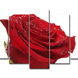 Red 5 Piece Wall Art Painting Wet Red Rose Pictures Prints On Canvas Flower The Picture Decor Oil For Home Modern Decoration Print For Bedroom