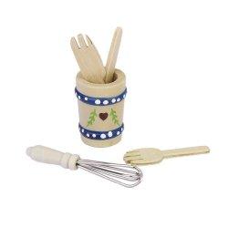 5Pcs Wooden Kitchenware Set 1/12 Dollhouse Miniature Model