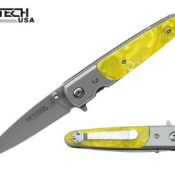 "Wartech 7"" Spring Assisted Open Folding Pocket Knife Yellow Handle"