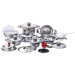 22Pc 12 Element Stainless Steel Cookware Set Pots Pans Lids Sauce Fry Pan Grater