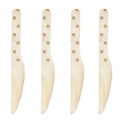Dress My Cupcake 6.5-Inch Natural Wood Dessert Table Knives, Gold Polka Dots, 500-Pack