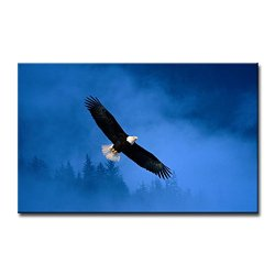 Blue Wall Art Painting Flight Of Freedom Bald Eagle In Alaska Forest Sky Pictures Prints On Canvas Animal The Picture Decor Oil For Home Modern Decoration Print