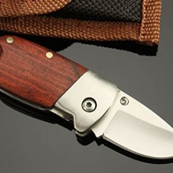 Se-Ba White Piglet Wooden Handle Pocket Folding Neck Peadant Knife