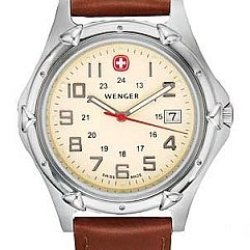 Wenger Men'S 73113 Standard Issue Xl Eggshell Dial Brown Leather Strap Watch